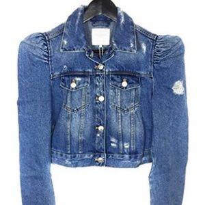 Brand New Puff Sleeve Crop Denim Jacket - Sz. M